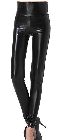 fab183c277 Keaac Women High Waist Faux Leather Pants Skinny PU Leggings Black XS