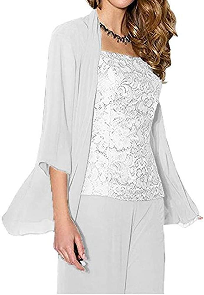 KA Beauty Womens 3 PC Chiffon Mother of The Bride Pants Suit with Long Sleeves Appliques Lace Pleat Jacket for Weddinng