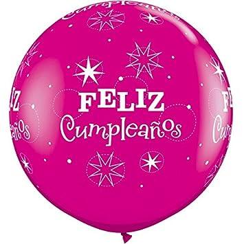 Amazon.com: Qualatex Feliz Cumpleanos Wild Berry Rosado ...