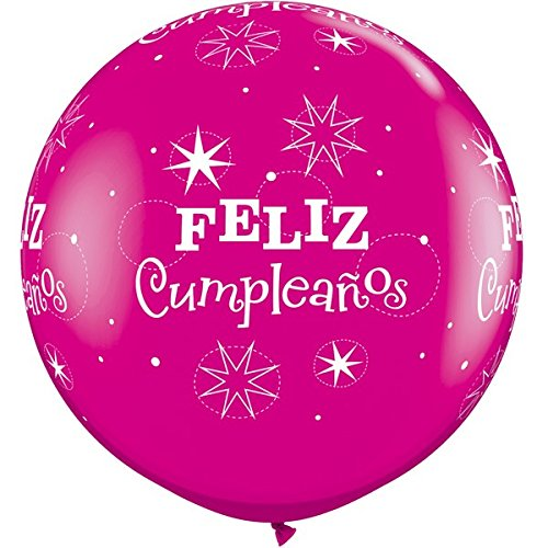 Amazon.com: Qualatex Feliz Cumpleanos Wild Berry Rosado ...