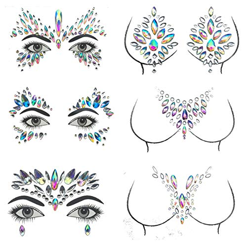 Mermaid Face Gems Jewels Crystal, Body Sticker Rhinestone Temporary Tattoos for Concert Rave Festival etc 6 PCS (2) ()