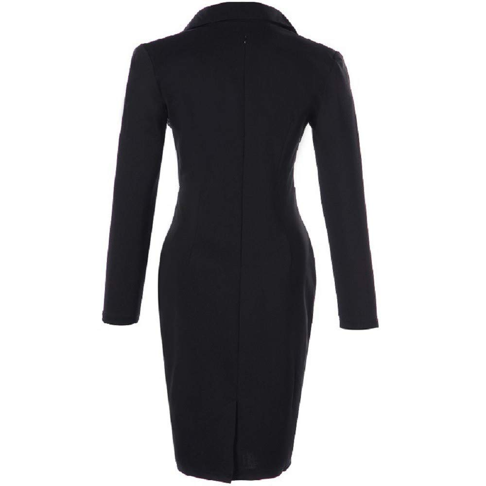 MERICAL Fancy Dress for Women Long Sleeve Dress Suit Collar with Pencil Dress