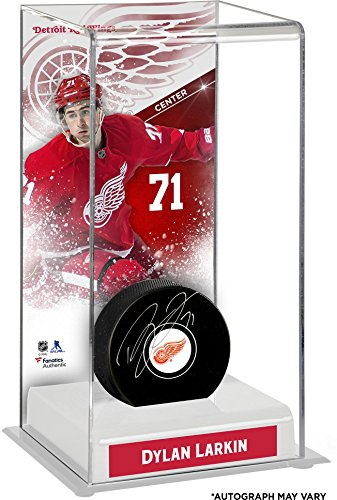 Dylan Larkin Detroit Red Wings Autographed Puck with Deluxe Tall Hockey Puck Case - Fanatics Authentic Certified