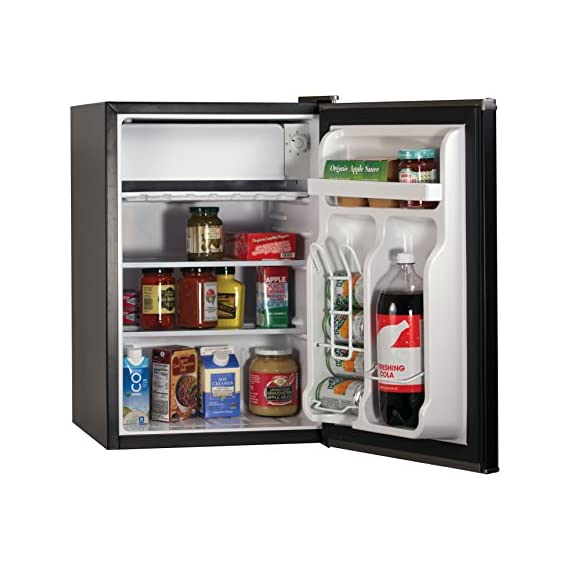 BLACK+DECKER BCRK25V Compact Refrigerator Energy Star Single Door Mini Fridge with Freezer, 2.5 Cubic Feet, VCM 4 2 Full Width Glass Shelves 2 Full Width Door Shelves accommodate 2 Liter and Tall Bottles Adjustable Thermostat Control and Leveling Legs offer ultimate versatility