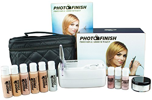 Photo Finish Professional Airbrush Cosmetic Makeup System Kit / Fair to Medium Shades 5pc Foundation Set with Blush, Concealer, Shimmer, Primer and Silica Finishing Powder (Matte Finish)