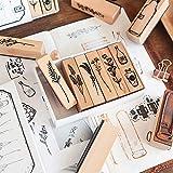 20 Pieces Vintage Wooden Rubber Stamps, Plant