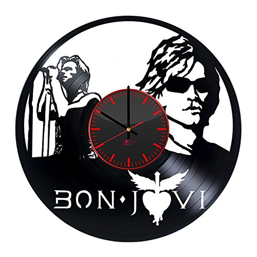 Original Vintage Style HANDMADE Vinyl Record Wall Clock - Get unique living room wall decor - Gift ideas for friends - Rock Music Band Unique Art Design (Bon Vintage Clock)