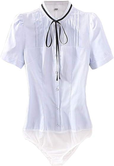 ZAMME - Camisa de Trabajo Formal de Oficina de Manga Corta para Mujer: Amazon.es: Ropa y accesorios