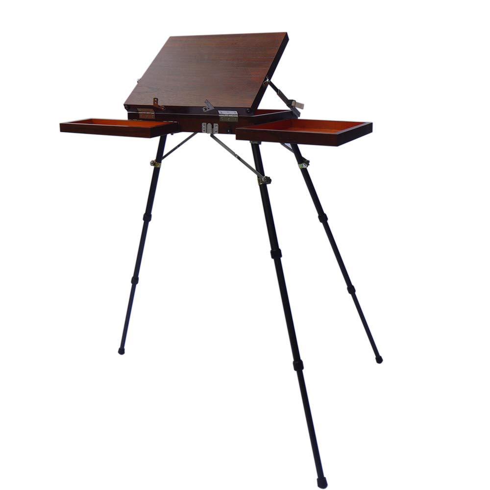 2 palettes Chevalet d/'artiste portable professionnel pour peinture /à l/'aquarelle Plein Aire avec tr/épied r/églable plateau de m/élange 2 palettes en bois pliable