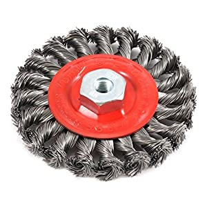 Forney 72784 Wire Wheel Brush, Twist Knot with M10 by 1.25 Arbor, 4-Inch-by-.020-Inch