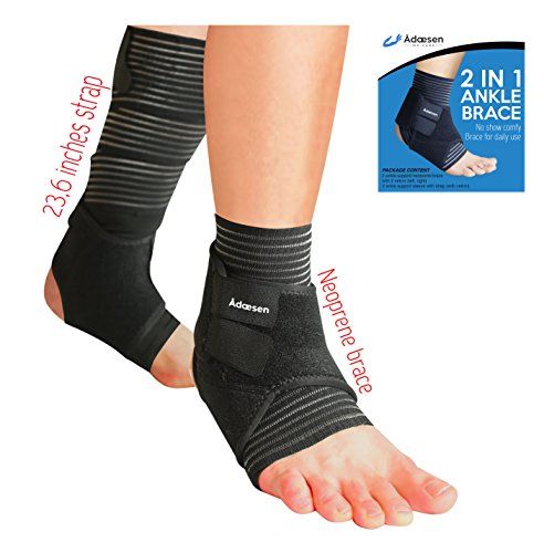 Ankle Brace - 4 protectors in 1 Bundle of Soft Compression Support with Strap and Breathable Neoprene Stabilizer - Treatment of Sprained Ligament, Plantar Fasciitis, Achilles Tendon - Sports and Daily