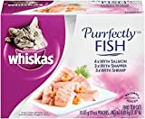Whiskas PURRFECTLY Fish Variety Pack Wet Cat Food, Featuring Salmon 3 Ounces (Four 10-Counts)