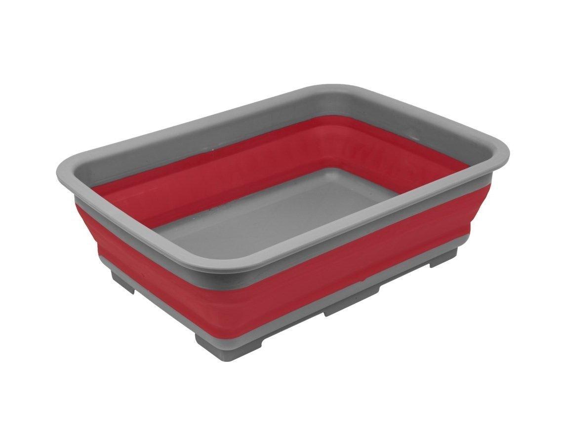 Invero –  Barreñ o plegable –  portá til 10 litros Almacenamiento de agua lavabo ideal para camping, caravanas, actividades al aire libre, cocina y má s –  rojo cocina y más-