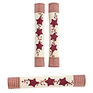 Star Oven And Refrigerator Handle Covers - Set Of 3, Red, Polyester