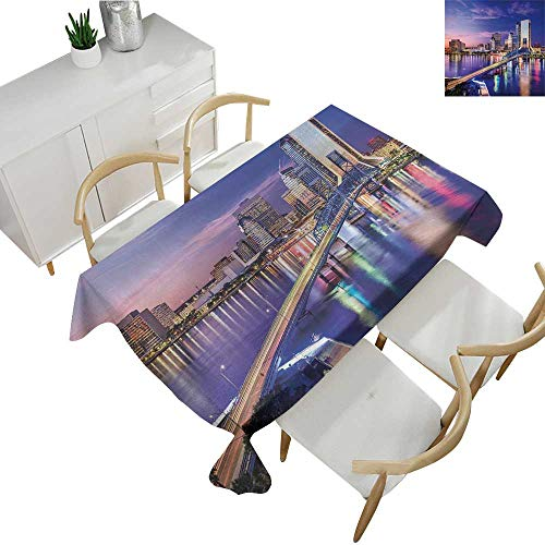 (United States,Oblong Tablecloth Jacksonville Florida Skyline Vibrant Night St. Johns River Scenic Waterproof Table Cover for Kitchen Royal Blue Pale Pink 70