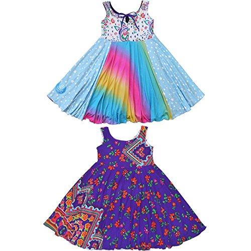 TwirlyGirl Cute Dress for Kids Unique Reversible Rainbow Stars Purple Colorful