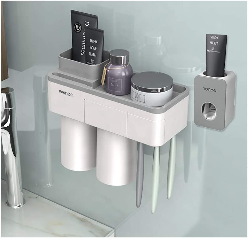 3 Cups Magnetic Toothbrush Holder Automatic Toothpaste Dispenser Storage Rack ~