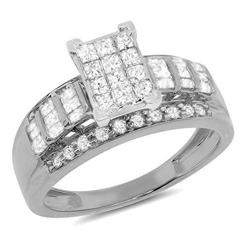 1.00 Carat ct 10k Gold Princess Round Baguette Diamond Channel Wedding Ring 3 in 1 Engagement & Band 1 CT - White-gold, Size 7