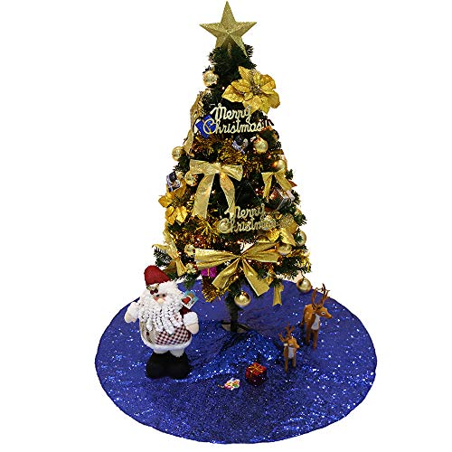 (GFCC 48'' Sequin Tree Skirt Royal Blue Christmas Treeskirt Unique Sparkly Glitter Home Christmas Holiday Thanksgiving Day Event Decoration (Royal Blue))