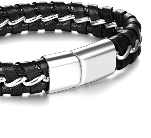 FUNRUN JEWELRY 2 PCS Mens Leather Bracelet Braided Magnetic Clasp 8-8.5 Inch