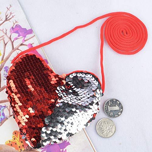 Dosige. Lentejuelas en Forma de corazón cordón Monedero de ...
