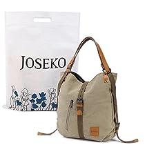 JOSEKO Fashion Shoulder Bag Rucksack, Canvas Multifunctional Casual Handbag Travel Backpack for Women Girls Ladies Red Large Capacity 14.17 x 3.94 x 14.96