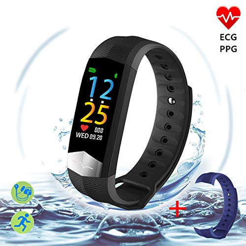 Upgrade ECG+PPG Activity Tracker Watch-Color Screen IP67 Waterproof Fitness Tracker with Heart Rate Monitor,Sleep Monitor,Blood Pressure Monitor,Pedometer Smart Watch for Women Men, Android iOS