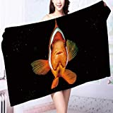 absorbent bath towel Clown fish while looking at you on the black background while diving in Indonesia Machine washable L63 x W31.2 INCH
