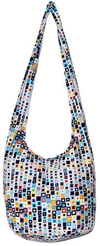 Bohemian Hobo Boho Hippie Hipster Crossbody Bag Purse 35 Inch Square (LightGrey) (Square Handbag Hobo)