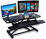 Table jack PRO - Standing Desk Converter by Deskool - 38 X 24 inch height adjustable sit stand desk converter that can act as a desk riser for a dual monitor setup