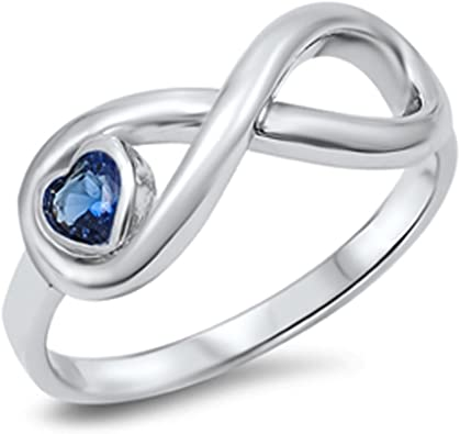 CHOOSE YOUR COLOR Sterling Silver Infinity Knot Heart Promise Ring
