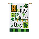 St Patrick's Day Medley Clovers Applique House Flag