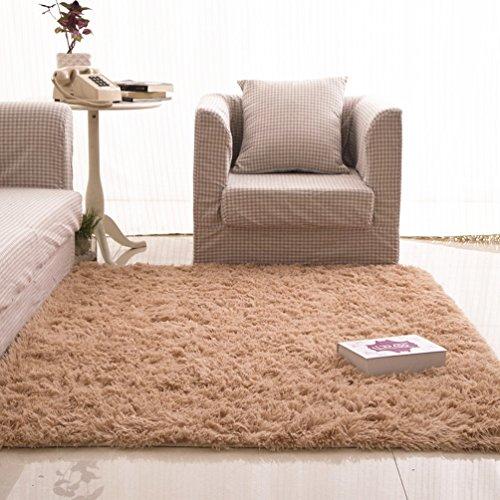 (Rug WAN SAN QIAN- Children Bedroom Carpet Living Room Carpet Sofa Europe Princess Rectangle Blended Carpet Long Hair Coarse Shag (Color : Camel, Size :)