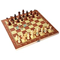"Toyshine 13""x13"" Wooden Folding Chess Set,Handmade Game Board Interior for Storage for Adult Kids Beginner Chess Board…"