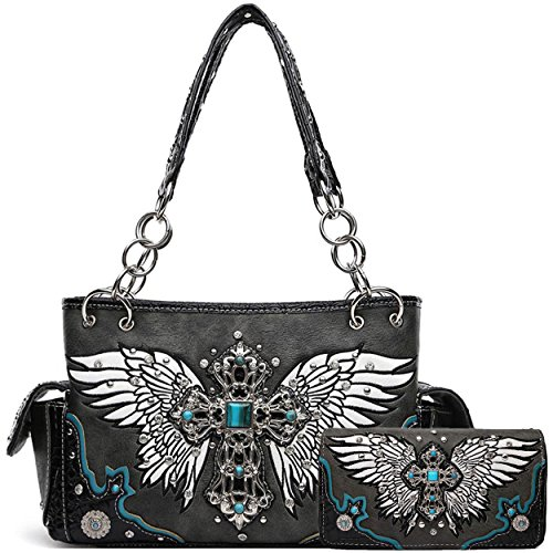 Cross Wings Alligator Skin Western Concealed Carry Purses Handbags Women Shoulder Bags Wallet Set Black (Handbag Heart Winged)