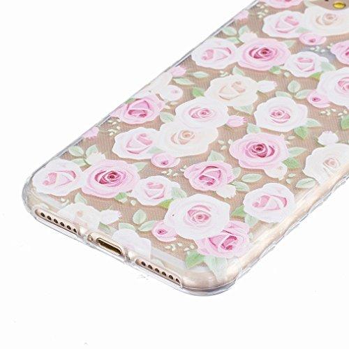 Ougger Apple iPhone 7 Custodia Case, Antigraffio Trasparente Cristallo Durevole Slim Morbido TPU Gomma Silicone Flessibile Protettivo Skin Shell Bumper Rear (Modello 10)