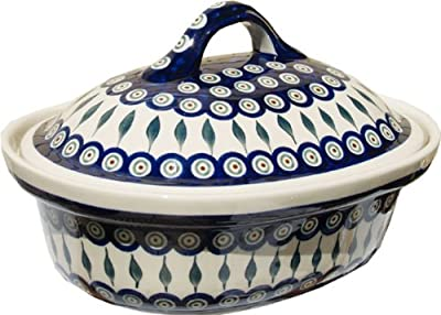 "Polish Pottery Oval Casserole Dish From Zaklady Ceramiczne Boleslawiec #1158-56 Peacock Classic Pattern, Height: 7.6"" Width: 10"" Length: 12.5"""