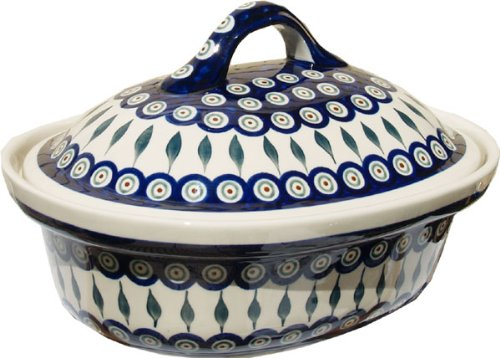 Polish Pottery Oval Casserole Dish From Zaklady Ceramiczne Boleslawiec #1158-56 Peacock Classic Pattern, Height: 7.6