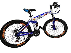 Land Rover Mountain Bikes 26 inch 21 Speeds,Suspension Folding Bicycles white and blue