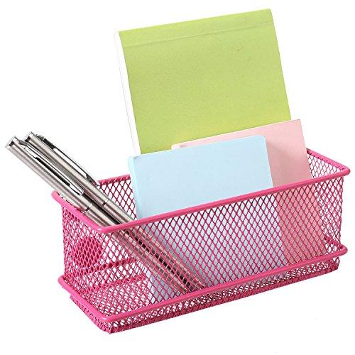 MyGift Modern Wire Mesh Magnetic Basket Storage Tray, Office Whiteboard Supply Organizer, Pink