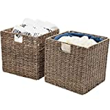 StorageWorks Large Wicker Seagrass Storage Baskets, Wicker Baskets for Shelves, Woven Baskets for Storage, Large, 11.8''x11.8''x11.8'', 2-Pack, Extra - Gift Lining