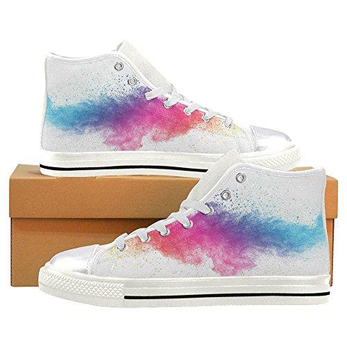 Rentprint Canvas Damesschoenen Kleurrijke Stof Hoge Sneakers Flat-schoenen Lace-up Sneakers Mode-vorm