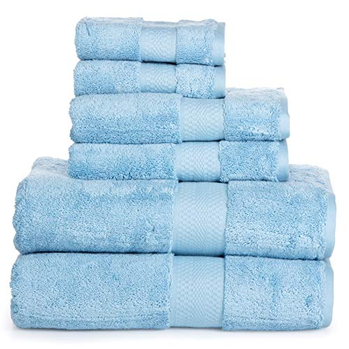 (Luxury Cotton Bathroom Bath Towels: 6 Piece Towel Set for Household Bathrooms - Soft Plush and Absorbent Cotton with Double Stitch Hems - Bath / Shower Towels, Hand Towels, and Washcloths - LIGHT BLUE)