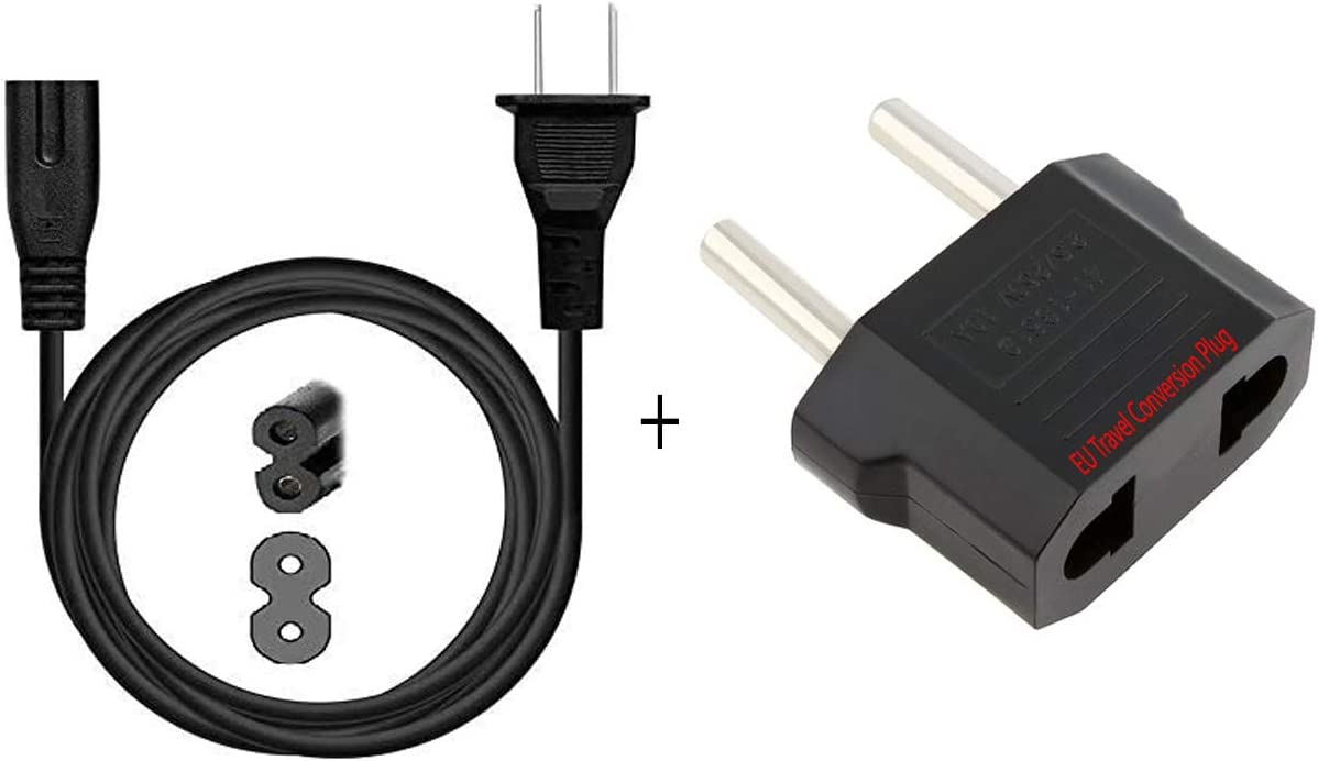 US 2 Prong Cable & EU Adapter Smart tv Power 2Pin AC Power Cord for Samsung LG TCL Sony Sharp JVC Insignia Hisense Toshiba LED LCD Smart 1080p 4K HDTV PC Laptop PS2 PS3 Slim Rounded electric IEC C7