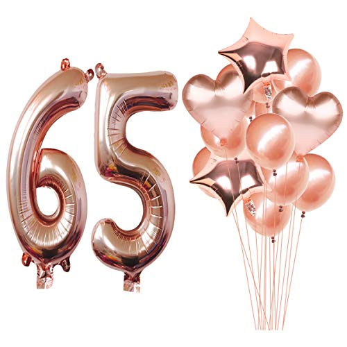 MAGJUCHE 40 Inch Rose Gold 65th Birthday Helium Jumbo Digital Number 65 Balloons Kit, Rose Gold Latex Balloons Birthday Party Decorations Supplies