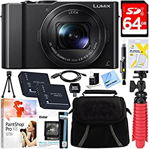 Panasonic LUMIX LX10 20.1MP Leica DC Optical Zoom Digital Camera + 64GB Class 10 UHS-1 SDXC Memory Card + Two Pack BLH7 Battery + Accessory Bundle