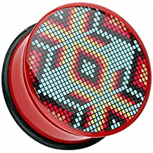 Red Navajo Beads Single Flared WildKlass Ear Gauge Plug (Sold as Pairs)