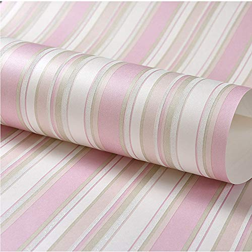 Awning Stripe Wallpaper - LVLUOYE Wallpaper, Non-Woven Material Mediterranean Stripe Sprinkled Gold Bedroom Art Wallpaper roll 100.53m,Pink