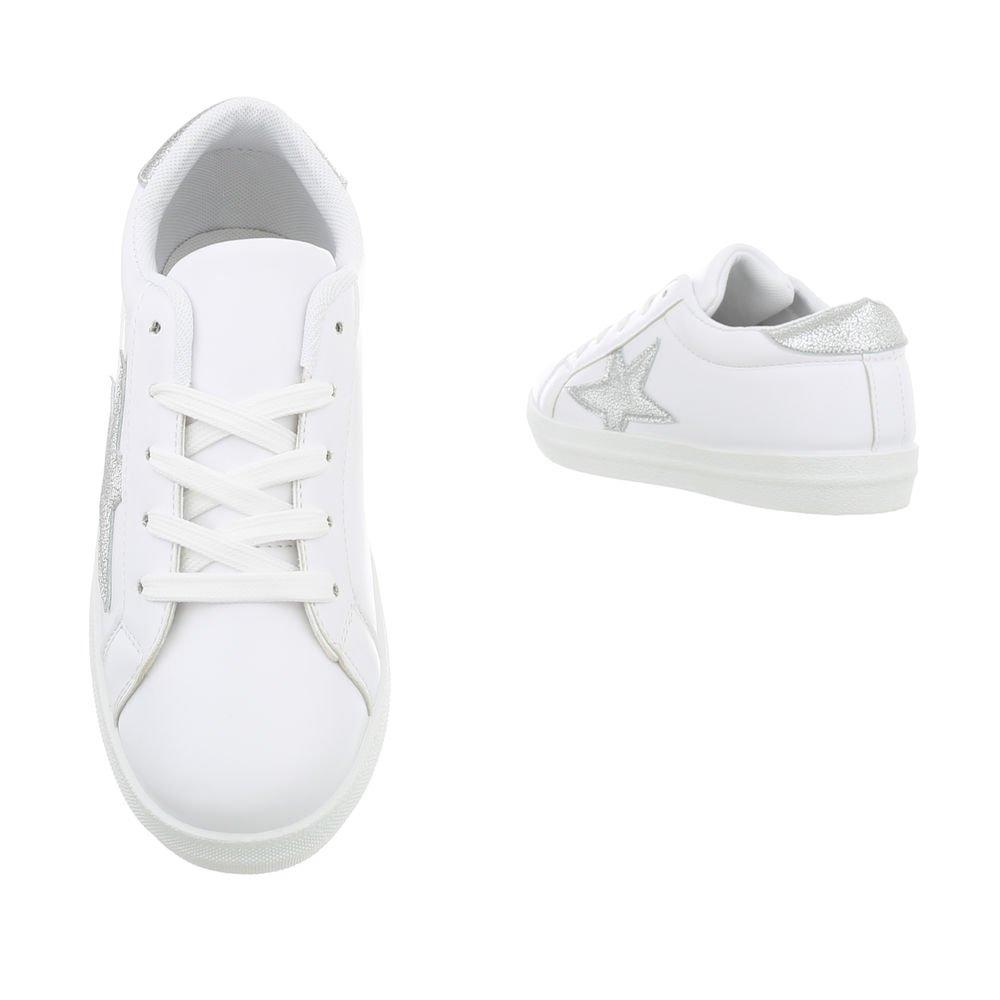 Ital-Design Damenschuhe Silber Freizeitschuhe Sneakers Niedrig Weiß Silber Damenschuhe 66-11-1 d40162