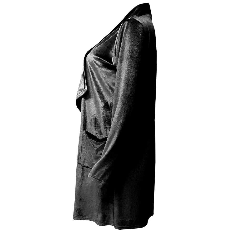 Orangeskycn Women Cardigan Drape Velvet Long Baggy Jacket Open Front Coat with Pockets